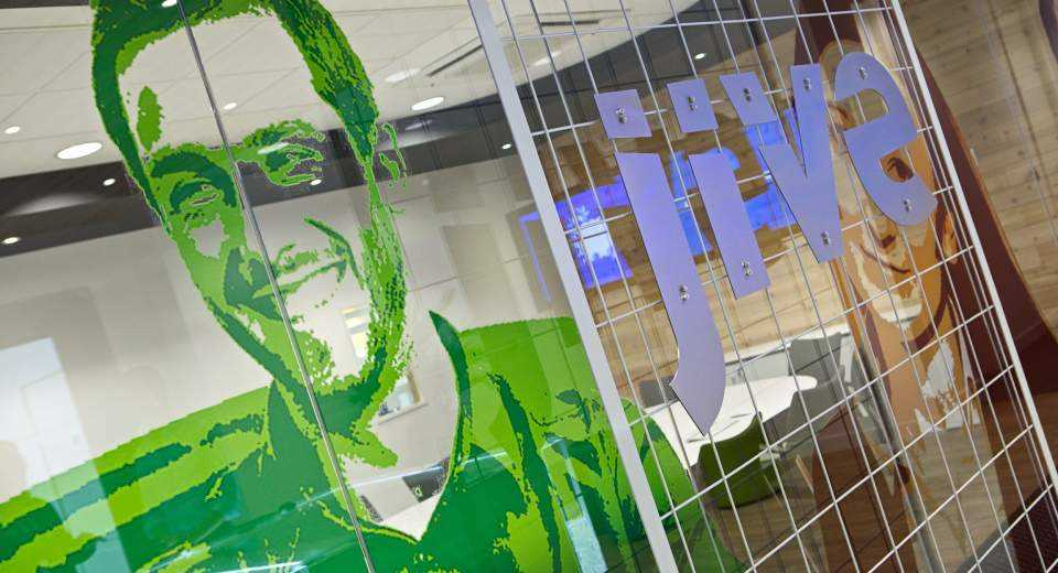 Jive Software office green window graphic