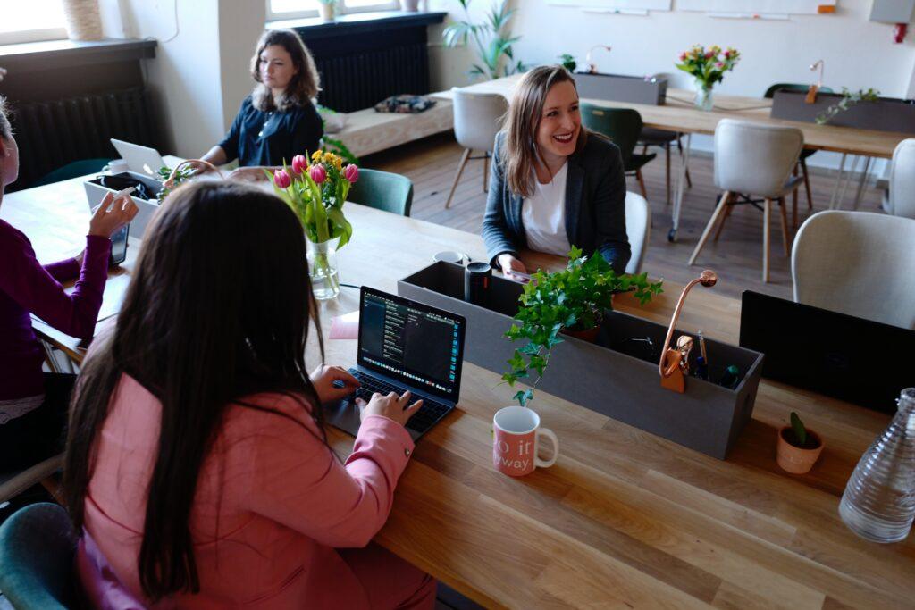 Team having meeting in office